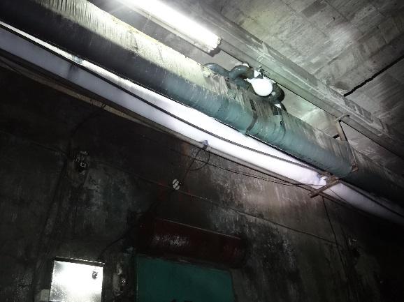 冷凍庫外氨氣管線結冰情形