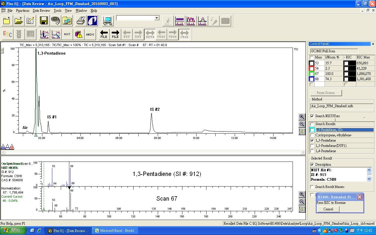 1,3-戊二烯定性比對圖譜