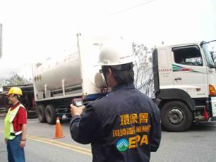 應變人員利用四用氣體偵測器於事故現場偵測LEL值