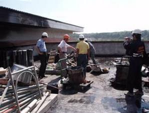 新建校舍頂樓火警現場
