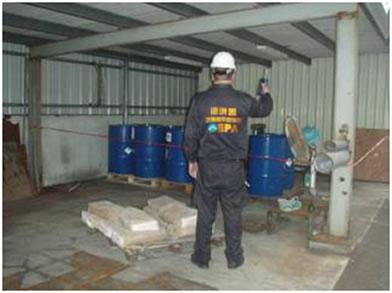 完成換桶作業之廢棄物暫存區及周遭HCl濃度監測