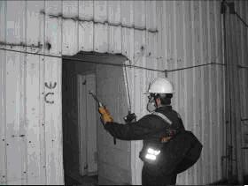 應變隊以PID與四用氣體於事故現場進行環境偵檢
