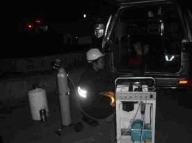 應變隊以FTIR於事故現場進行環境偵檢