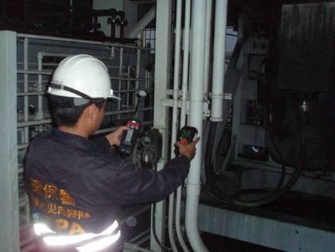 於事故現場以PID及四用氣體偵測器進行偵測