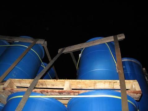 拖板車上桶裝安定劑脫落處