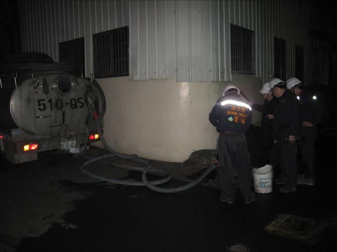 水肥車消防廢水抽除作業