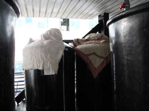 以溼棉被覆蓋桶槽
