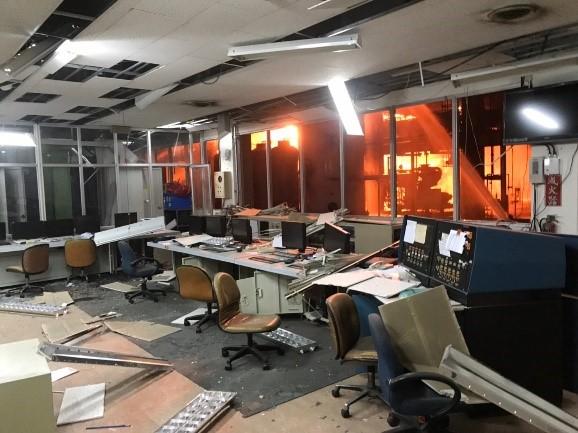 廠方控制室損毀情形